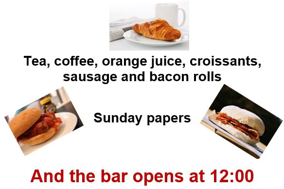 Sunday Brunch at the Harrold Centre 4th February